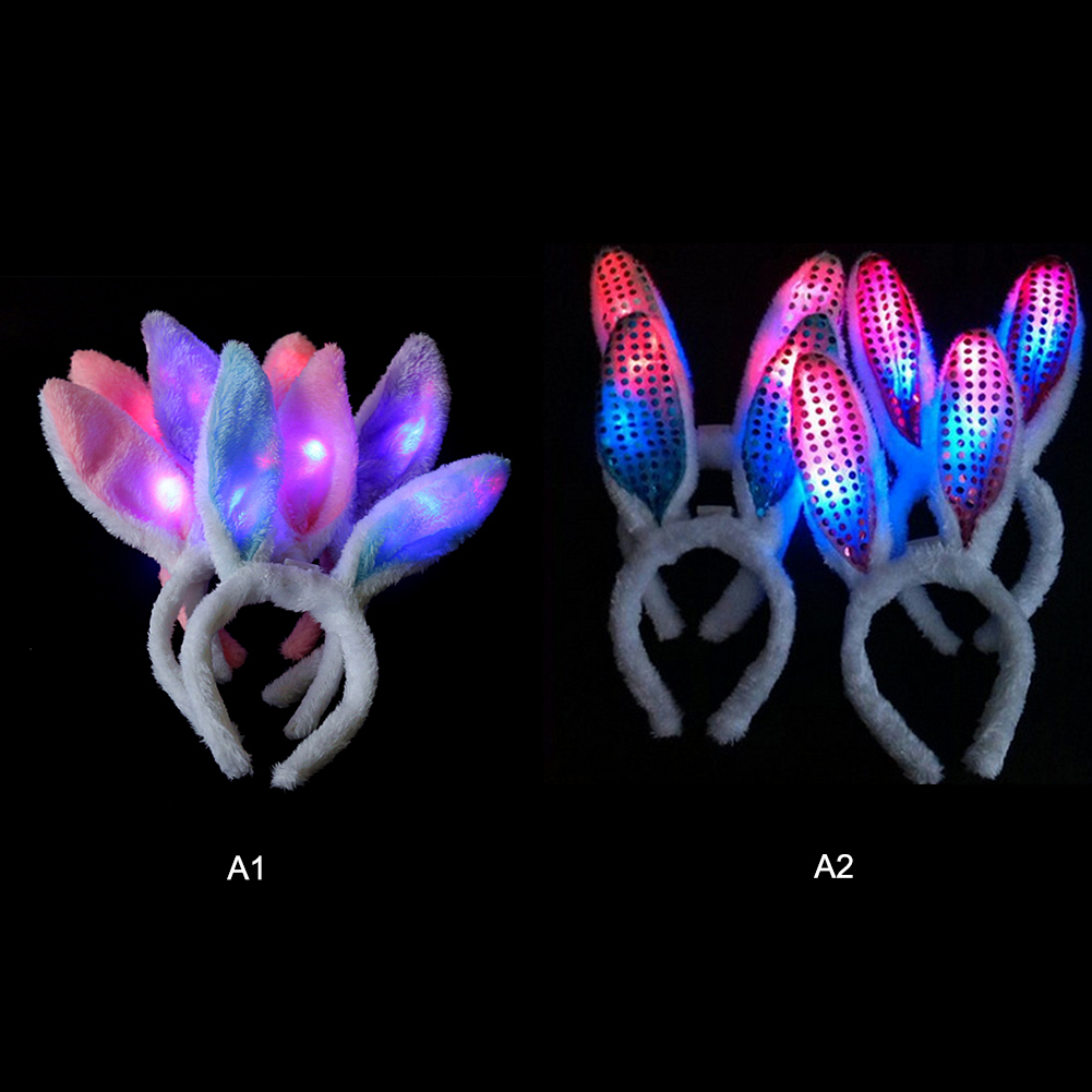 Rabbit Ears LED Glow Headband Hair Clip Flashing Girls Women Luminous Plush Headdress Headwear LED Hairbands Accessories in Stuffed Plush Animals from Toys Hobbies