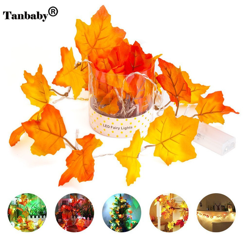 Tanbaby Thanksgiving LED Maple Leaves Garland String Lights AA Battery Operated Warm White Party Decor Fairy String Light Lamp