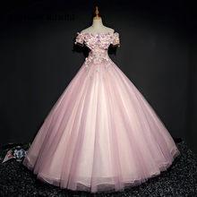 Rosa Vestidos Quinceanera Prom Party Vestido Longo Fora Do Ombro Flor Dança vestido de Baile Vestidos De Vestidos de 15 Años Doce 16 248