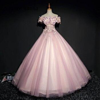 614566648 Rosa Quinceañera Vestidos De baile Vestido largo De hombro baile flor bola  Vestidos De 15 Anos dulce 16 Vestidos 248