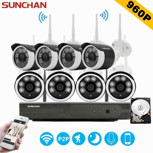 Sunchan 8ch sistema de cftv sem fio 960 p nvr 8 pcs 1.3mp ir P2P IP Wi-fi ao ar livre Câmera de Segurança CCTV Sistema de Kit de Vigilância w/HDD