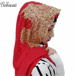 Image 1 - BOHOWAII Muslim Jersey Hijab 25colors Femme Musulman Gold Diamonds Sequins Long Scarf Hijabs Hoofddoek Fashion Chiffon Turbante