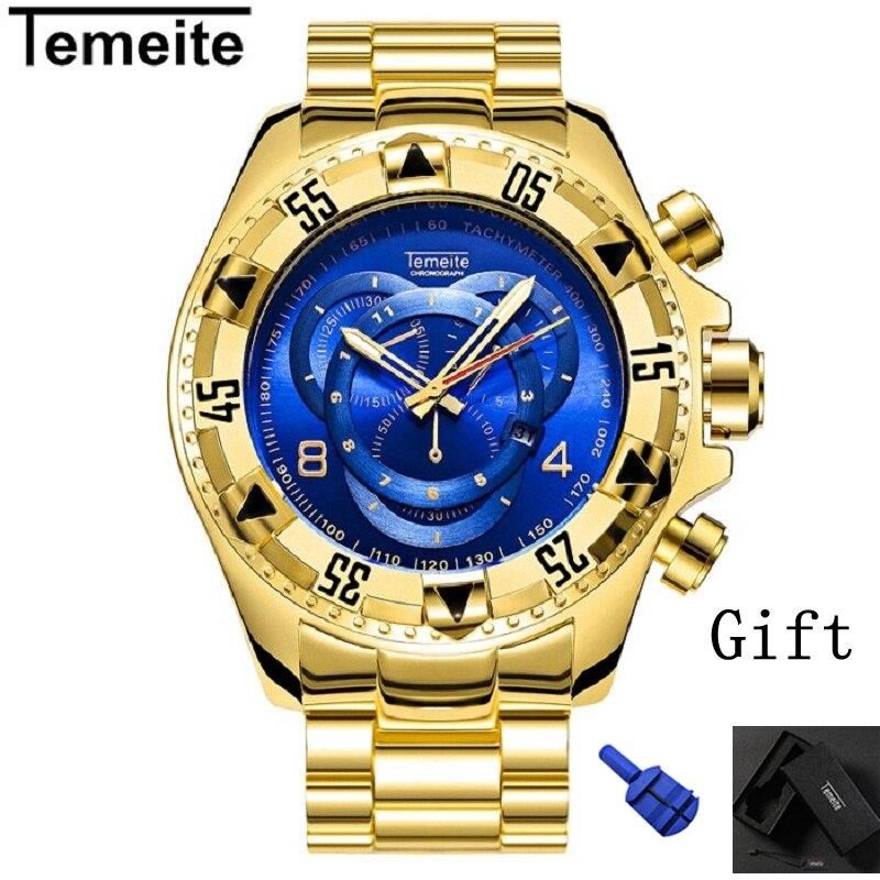 1c1e92ed404 316L temeite mens Grande mostrador relógios de ouro de luxo azul homem de aço  inoxidável relógios de pulso de quartzo calendário à prova d  água marca de  ...