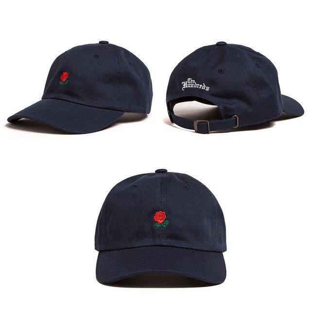 Hot Rose Floral Embroidery Sanpback Black White Pink Drake Custom Baseball Caps for Men Women Sport Fishing Cap Female Egg Hat