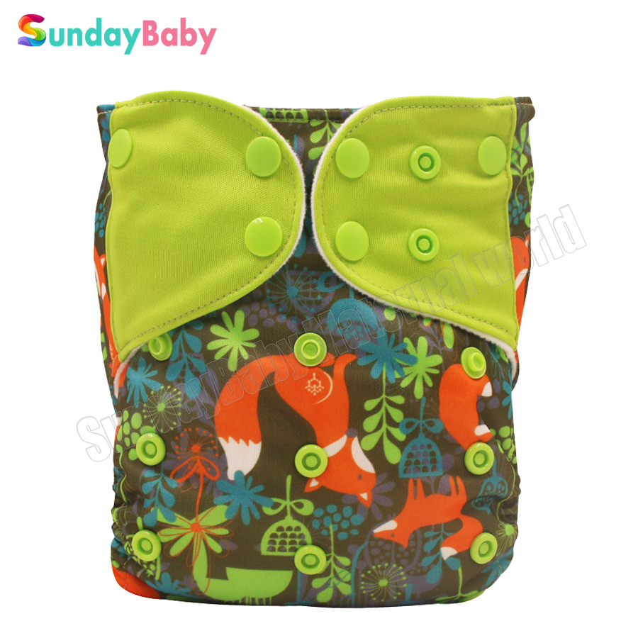 1 pc printed fox pattern reusable cloth diapers babies splice colored tap waterproof baby cloth nappy