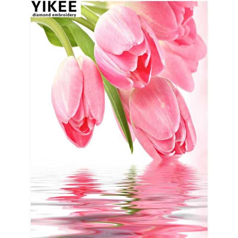 YIKEE K40 diy stras pictură broderie diamant plin, lalele, 5d diy - Arte, meșteșuguri și cusut