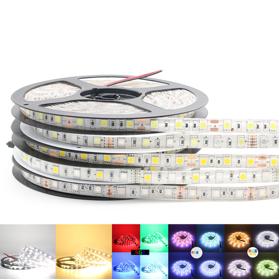 Outdoor 12 Volt 60leds Meter Led Strip Smd 5050 Rgb: 5050 RGB LED Strip Waterproof 5M 300LED DC 12V RGBW RGBWW
