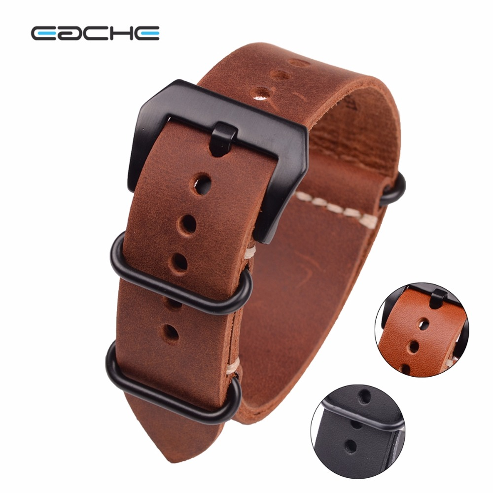 EACHE Handmade NATO Genuine Leather WatchBand Watch Strap for Military Watch 20mm 22mm 24mm With Black Buckles new matte red gray blue leather watchband 22mm 24mm 26mm retro strap handmade men s watch straps for panerai