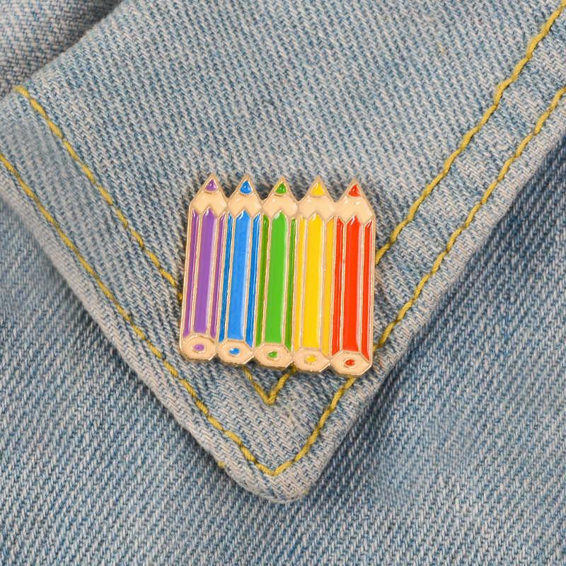 Love Is Love Rainbow Pins разноцветные ювелирные изделия розы цветок карандаш Броши с сердечком значок гей пара Прайд значок с эмалью
