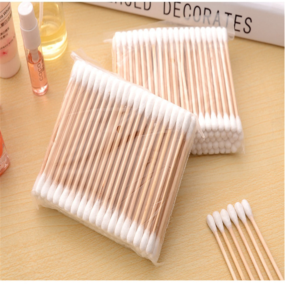 100 PCS Cotton Swabs Women Beauty Makeup 100% Cotton Buds Microbrush Double-head Wood Sticks Ears Cleaning Cosmetics Health Care