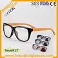Sky211 unisex nature bamboo sunglasses optical frame eyewear UV400 polarized lens with spring hinge