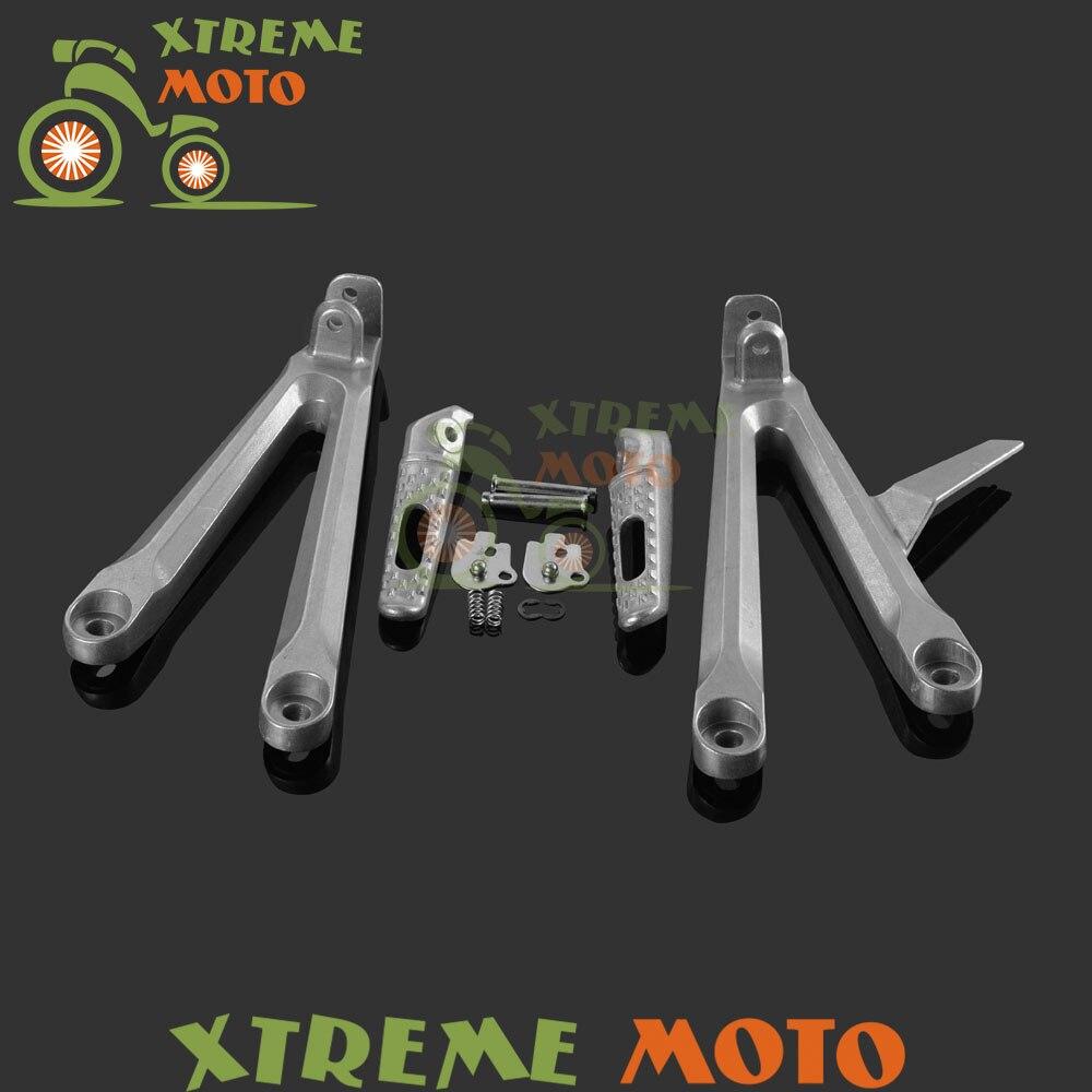 Alloy Motorcycle Motorbike Rear Passenger Footrest Foot Peg Rests Pedals & Bracket Mount Set For Honda CBR600RR CBR 600 RR 05 06