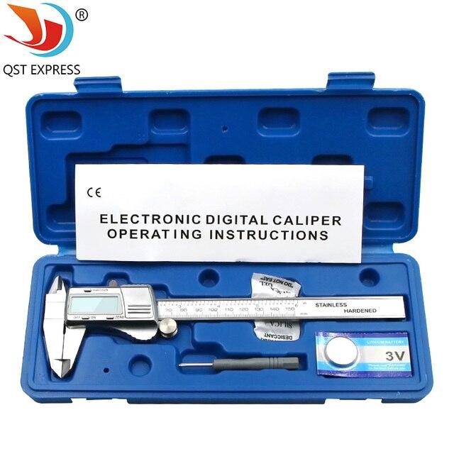 Suwmiarka cyfrowa 0 150mm 0.01mm ze stali nierdzewnej elektroniczne suwmiarki metryczne/calowe mikrometr narzędzia pomiarowe