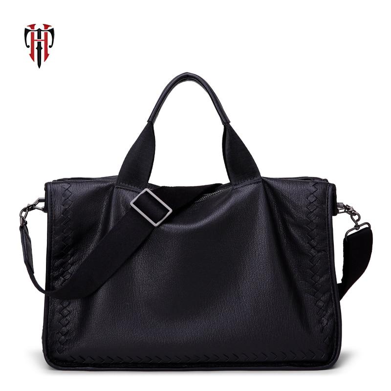 dcd86a622e Homme Black Portable Poignée Sacs En Tianhoo Peau Ordinateur Véritable Sac  Top 14 De Tissé ...