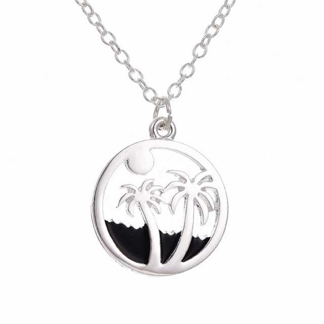Trendy beach jewelry silver color alloy sun palm tree round charm trendy beach jewelry silver color alloy sun palm tree round charm pendant necklace for women gift mozeypictures Choice Image
