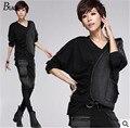 Harajuku tops para mujer de moda 2015 Más tamaño camisa de Gasa de las mujeres Sexy negro Lleno de Mezclilla tops calle Blusa Diseñador de Novela