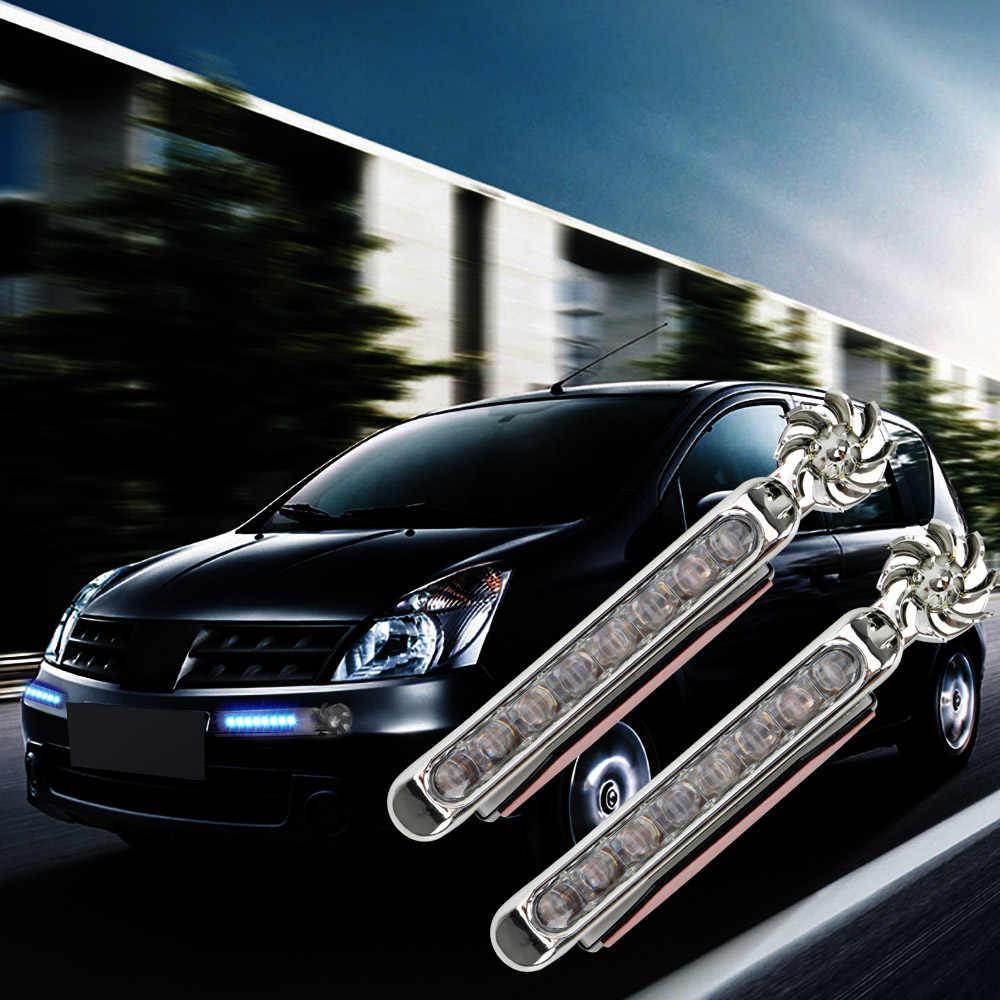 FORAUTO 1 пара светодиодный источник энергии ветра ed Автомобильные дневные ходовые огни авто декоративная лампа с вентилятором вращения не требуется внешний источник питания