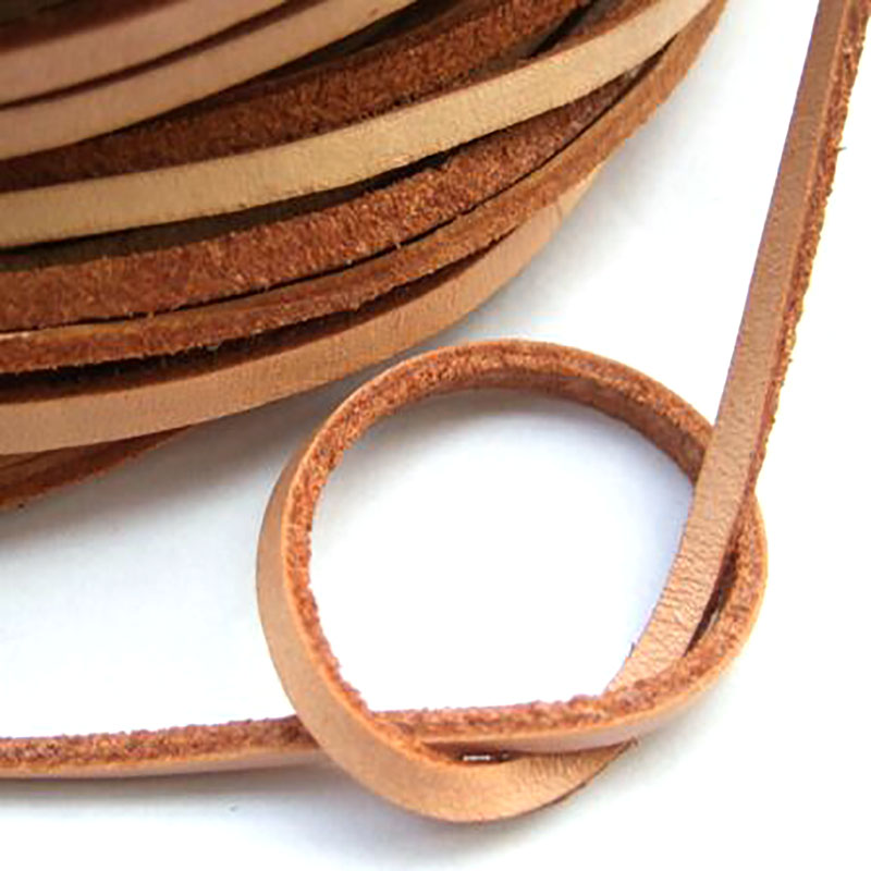 5 Meters Hight Quality 3*2mm Flat 100% Genuine Real Natural Leather Cord String Lace Rope