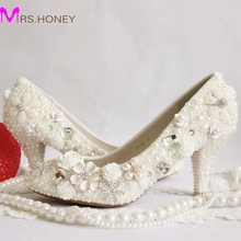 2016 White Wedding Shoes Pearl Appliqued Bridal Dress Shoes Handmade Nightclub Banquet Women Shoes 3 Inches Prom Party Heels