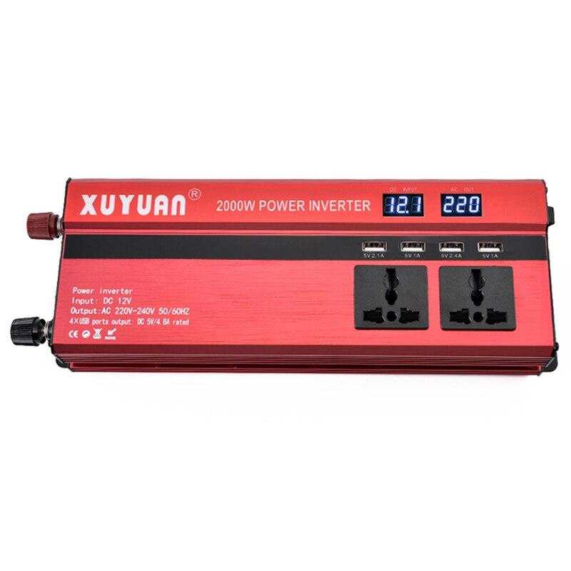 цена на 600W Potable 50Hz Car LED Display Screen Power Inverter Converter DC 12V To AC 220V 4 USB Ports Charger XNC