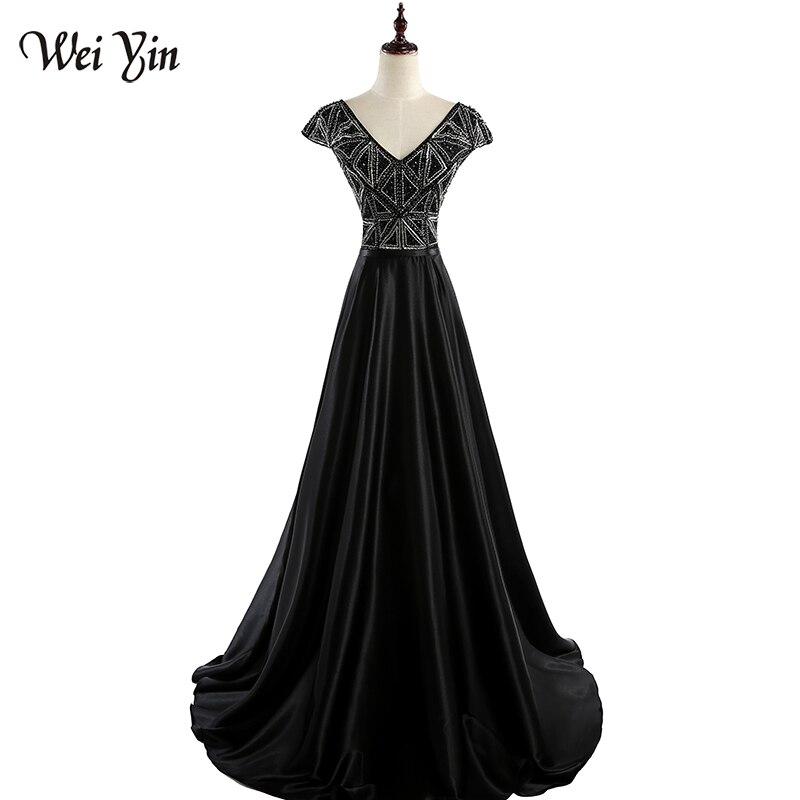 WEIYIN v-cou femmes robe De soirée noir à manches courtes une ligne longue robe formelle fête robe De bal robe De Festa WEIYIN380