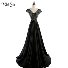 wei yin WEIYIN V-neck Women Evening Dress Black Prom Dress