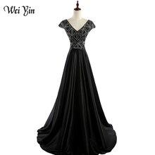 wei yin WEIYIN V-neck Women Evening Dress Black Prom Dress