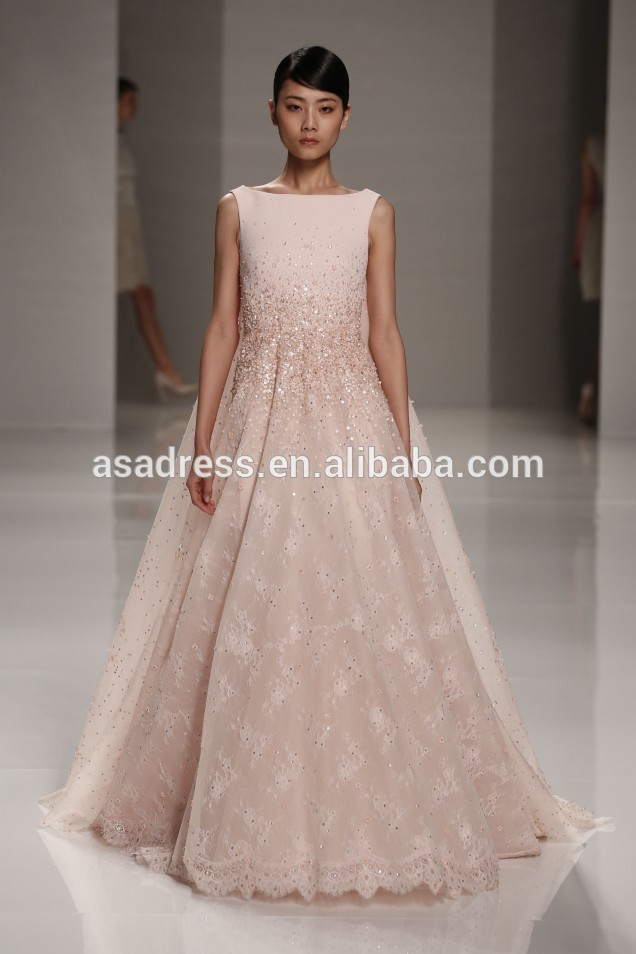 a line hot sale lebanon sleeveless light pink lace sequins evening gowns arabic designer evening