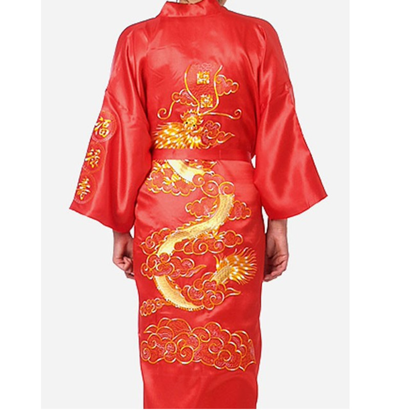 Image 5 - Free Shipping Navy Blue Chinese Men's Satin Silk Robe Embroidery Kimono Bath Gown Dragon Size S M L XL XXL XXXL S0008-in Robes from Underwear & Sleepwears on AliExpress