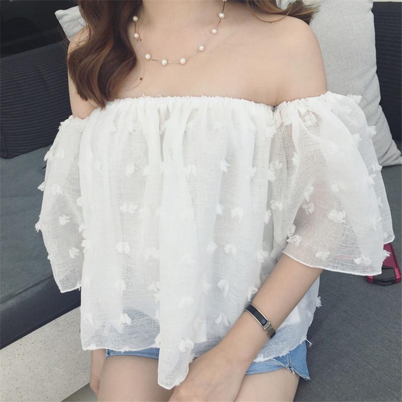 HTB1MDUNQFXXXXaNXFXXq6xXFXXXR - Sexy Off Shoulder Women Puff Sleeve 3D Floral