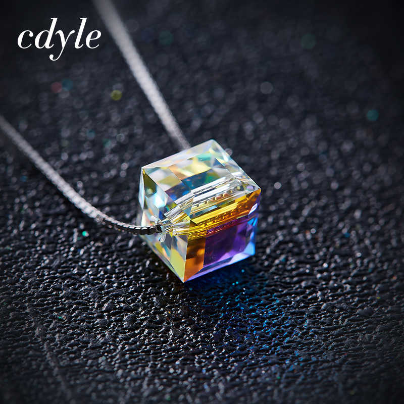 Cdyle 925 Sterling Silver Necklace Embellished with crystal Cube Pendant Fashion Jewelry Womens Accessories