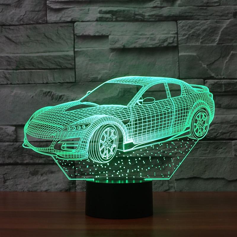 3D Optical Illusion Desk Lamp/3D Optical Illusion Night Light, 7 Color LED 3D Lamp, Sports Racing Car Light Up 3d лампа 3d lamp акула