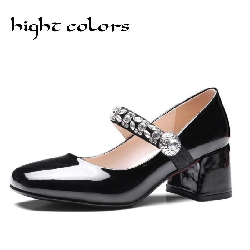2017 Women's Pumps Thick Heel Sweet Japanned Leather Women Round Toe High Heel Lolita Rhinestone Mary Jane Shoes Cute Shoes sky blue red leather princess girl sweet lolita wedge mary jane shoes