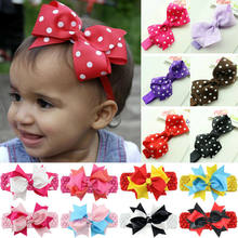 2019 Brand New Fashion Girls Dots Big Bow Headwear Hair Band Baby Headband Head Wrap Band Accessories Tiaras Infantil Headbands(China)