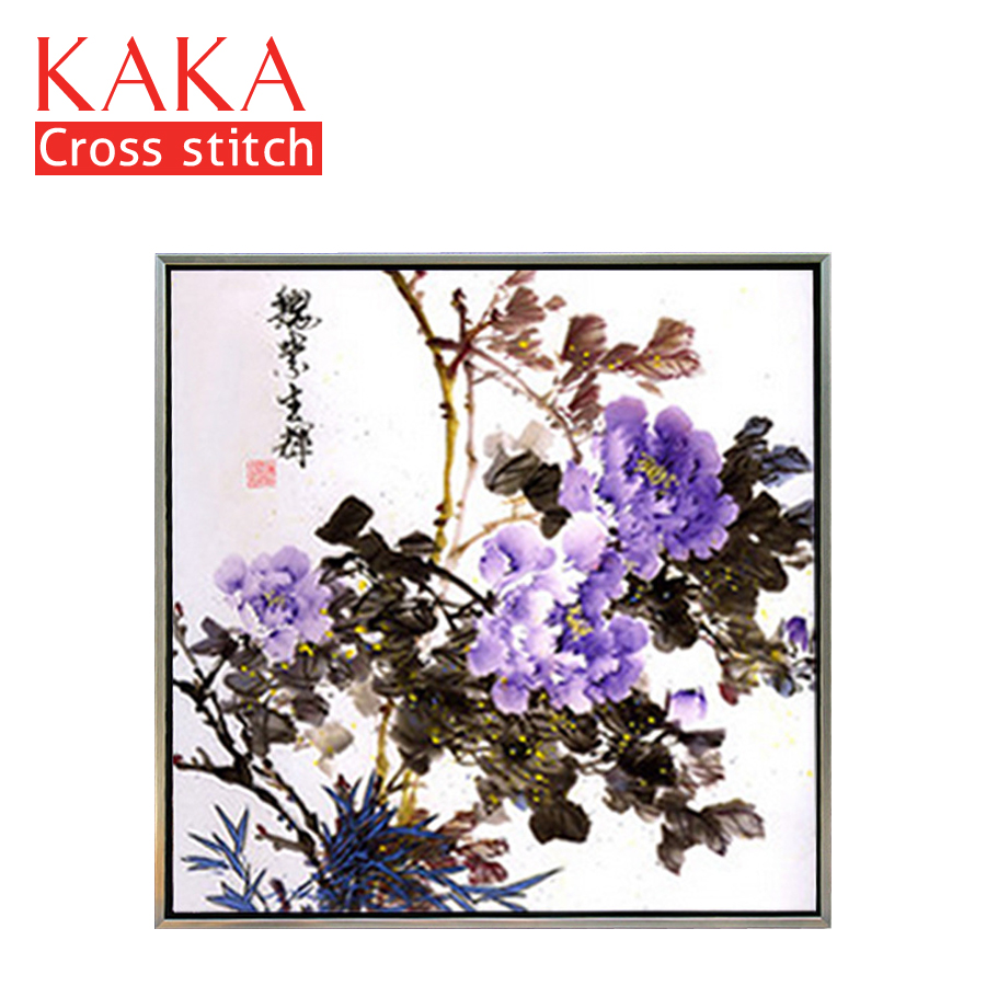 KAKA Cross Stitch Kits,5D Purple Peony Flowers,Embroidery Needlework Sets With Printed Pattern,11CT Canvas,Home Decor Painting