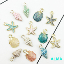 13PCS/lot alloy starfish brand Epoxy color shell conch shape DIY accessories for handmade bags key ring Chain Decorative pendant conch shape embellished sweater chain