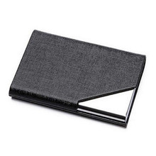 Fashion Business ID Credit Card Holder Function Women Men Brand Metal Aluminum Card Case PU Leather Porte Carte Passport Wallet(China)