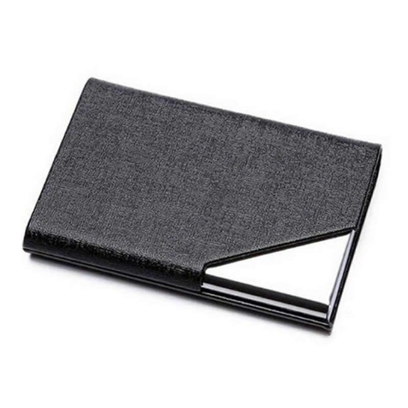 Mode affaires ID Porte-Carte de crédit fonction femmes hommes marque métal aluminium Carte Case PU cuir Porte Carte passeport portefeuille