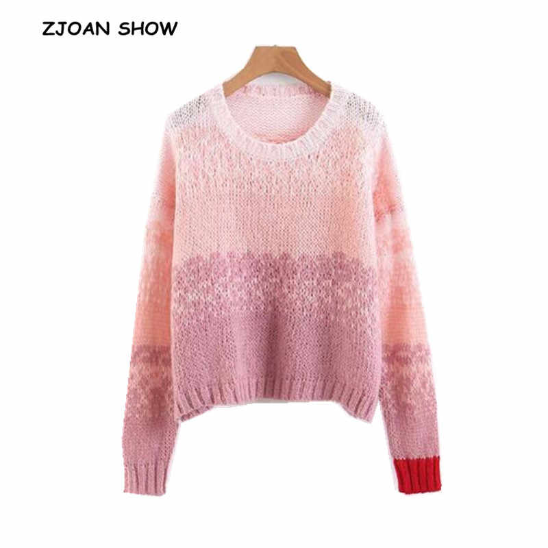 Vintage Gradient Contrast Color Sweater 2018 New Woman O neck Loose Knitted  Pullover Knitwear Casual Jumper 0ad5020a3736