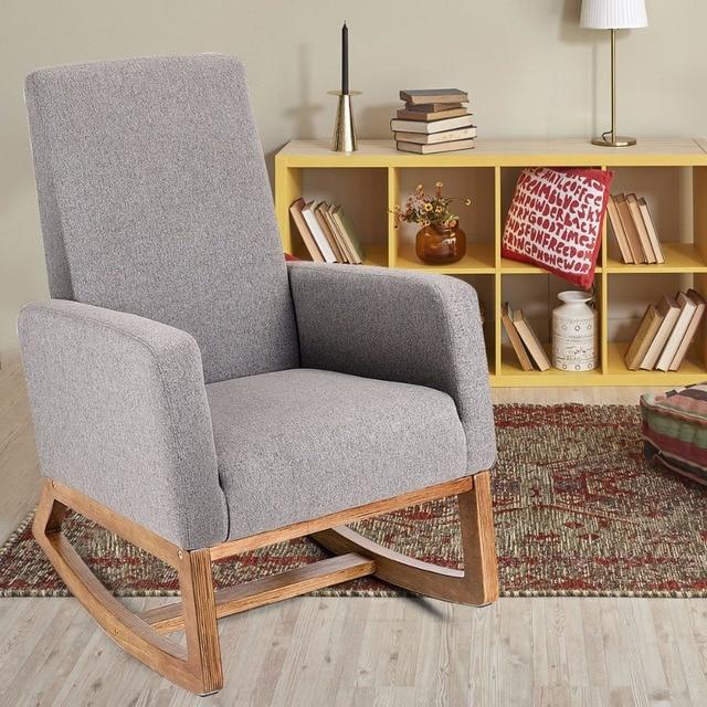 Giantex Mid Century Retro Modern Fabric Upholstered Rocking Chair Relax Rocker Gray New Living Room Furniture