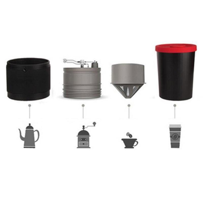 Tasse de meulage de café en acier inoxydable couleur unie cafetière Portable broyeur manuel en plein air accompagnant la tasse en acier inoxydable