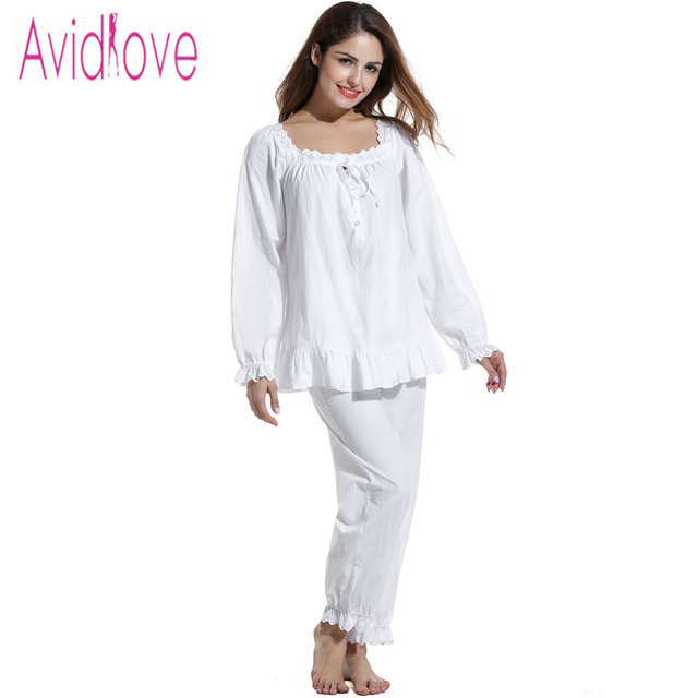 1859d91aa3 Avidlove Women Nightgown British Vintage Cotton Sleepwear Casual White  Pajama for Women 2Pieces Long Sleeve Blouse   Loose Pants