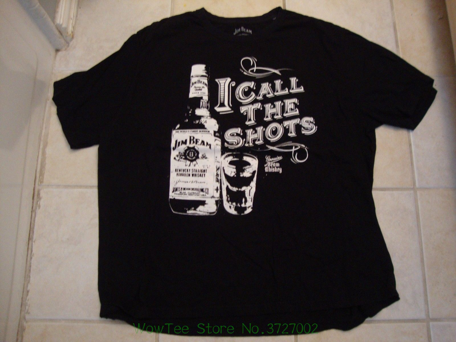 Jim Beam Bourbon Whiskey I Call The Shots Drinks Alcohol Black T Shirt Size 3xl Rude Top Tee Round Neck