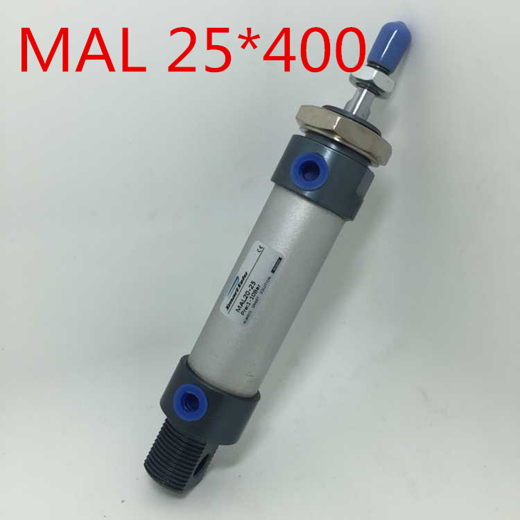 Free Shipping MAL 25-400 Aluminium Alloy Pneumatic Mini Air Cylinder , 1/8 Port 25MM Bore 400MM Stroke Single Rod Double Acting panasonic sr tmpn10