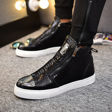 2019 Men Shoes Fashion Bling High Top Zipper Sneakers Height Increasing PU Leather Casual Breathable Size 39-44