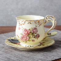 European coffee cup set Saucer and cup Set British Ivory Ceramic Coffee Cups Set bone china Advanced gifts cups spoon shelf