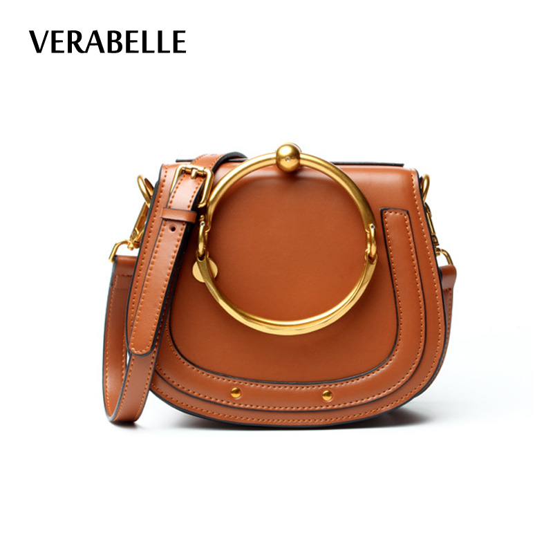 VERABELLE 2018 split leather saddle metal ring shoulder bag women handbag purse crossbody female high quality small bags 2017 120cm diy metal purse chain strap handle bag accessories shoulder crossbody bag handbag replacement fashion long chains new
