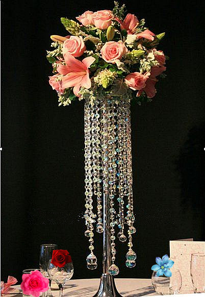 Acrylic Crystal Wedding Centerpiece Table Flower Vase 70cm