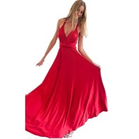 Sexy Women Boho Maxi Club Dress Red Bandage Long Dress Party Multiway Bridesmaids Convertible Robe Longue