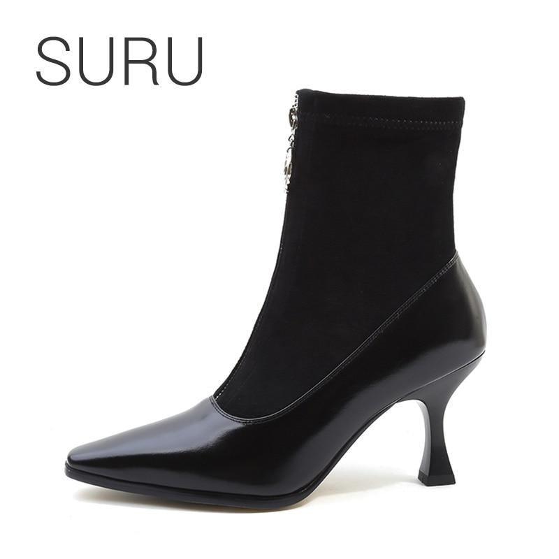 SURU femmes 8 cm Patchwork en cuir chaussette bottes dames Font zip hiver noir bottines